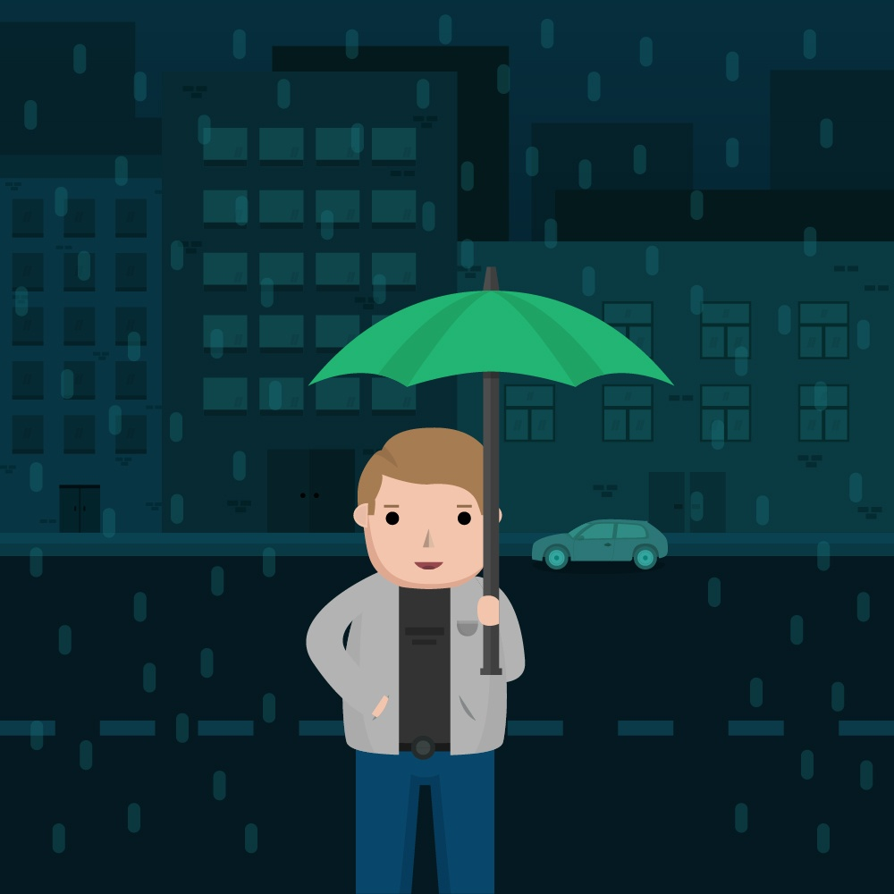 Man in the Rain with Umbrella Photoshop brush