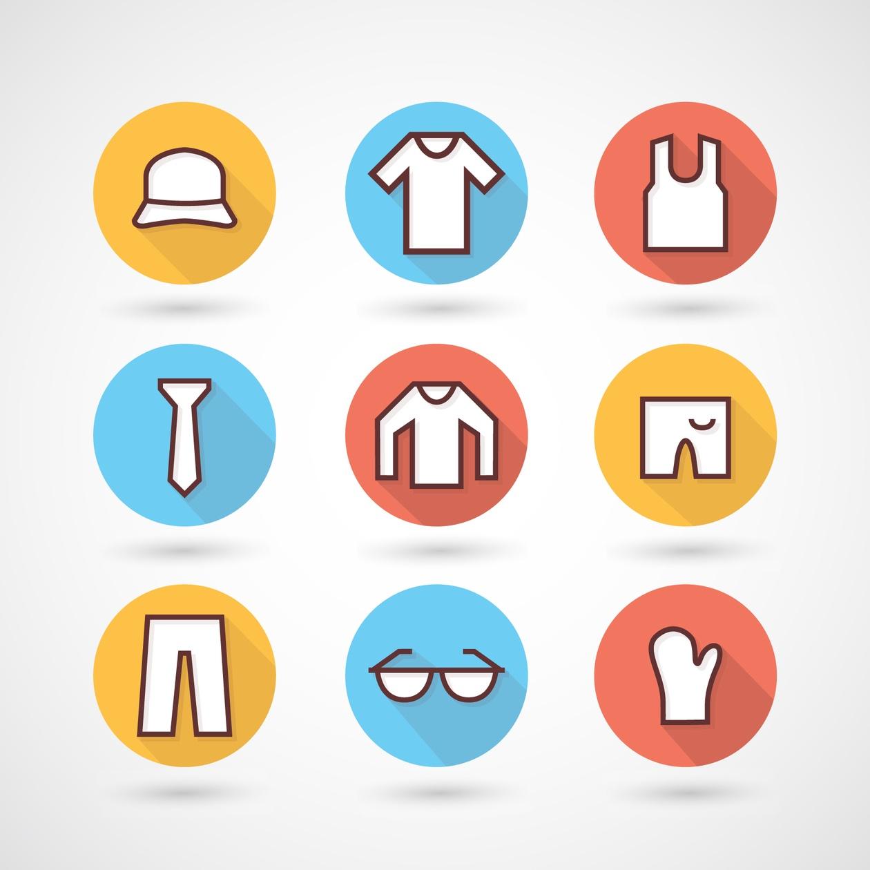 Clothing icons set Photoshop brush