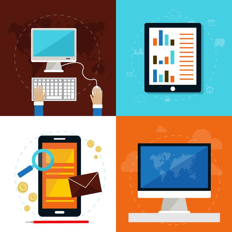 Set of flat design concept icons Photoshop brush