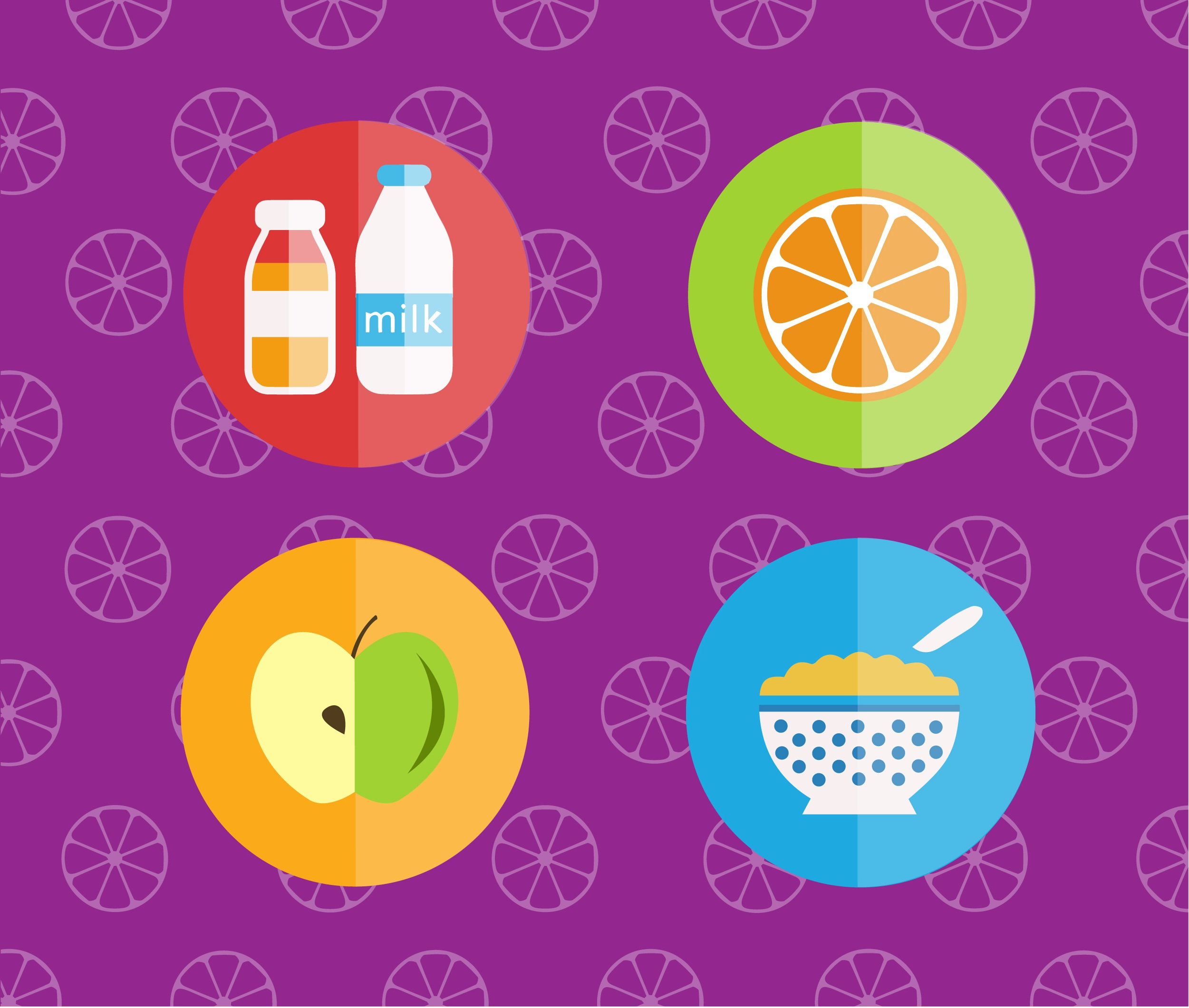 Food objects for edsign. Vector illustrations Photoshop brush