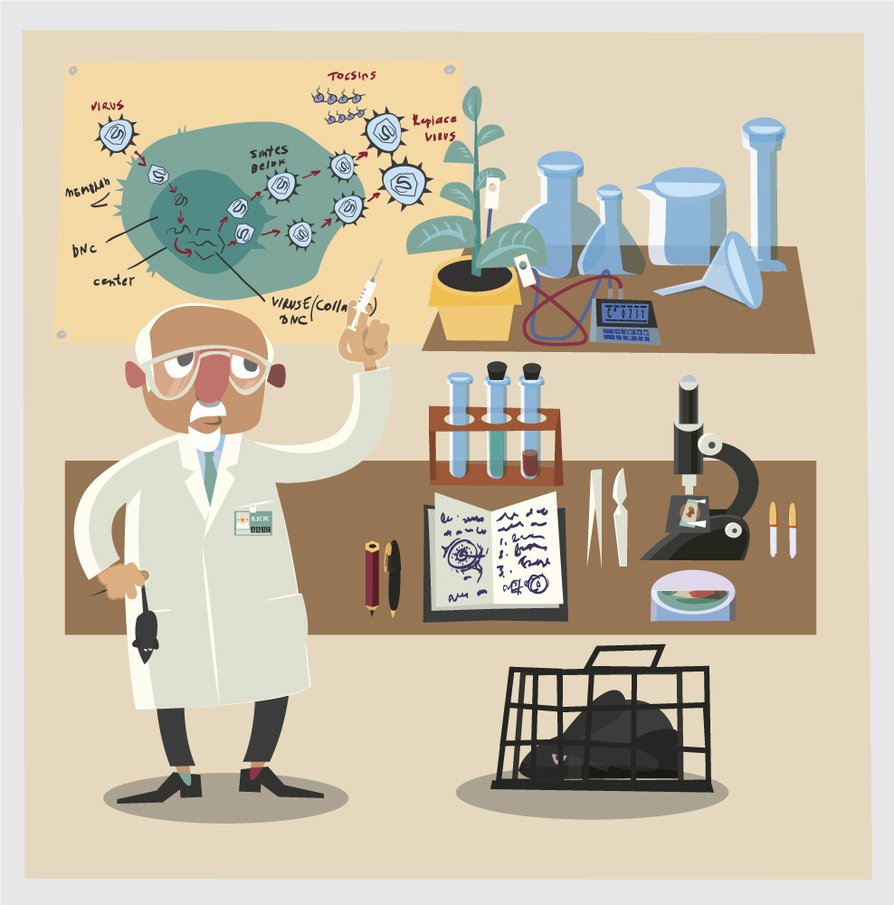 Chemical character and tubes illustration vector Photoshop brush