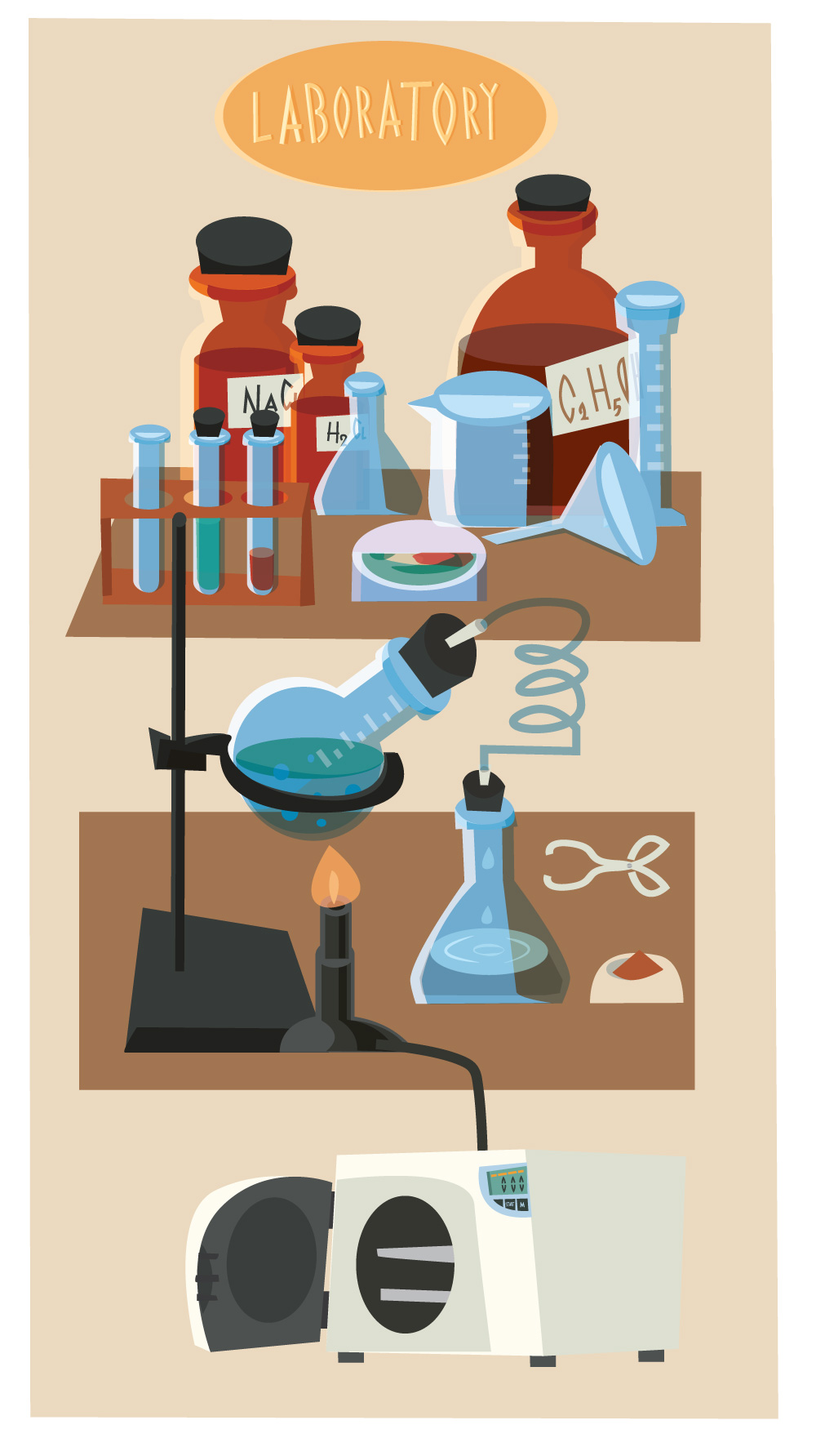Chemical objects and tubes illustration vector Photoshop brush