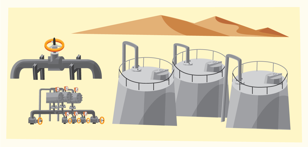 Oil objects landscape and equipment. Vector illustration Photoshop brush