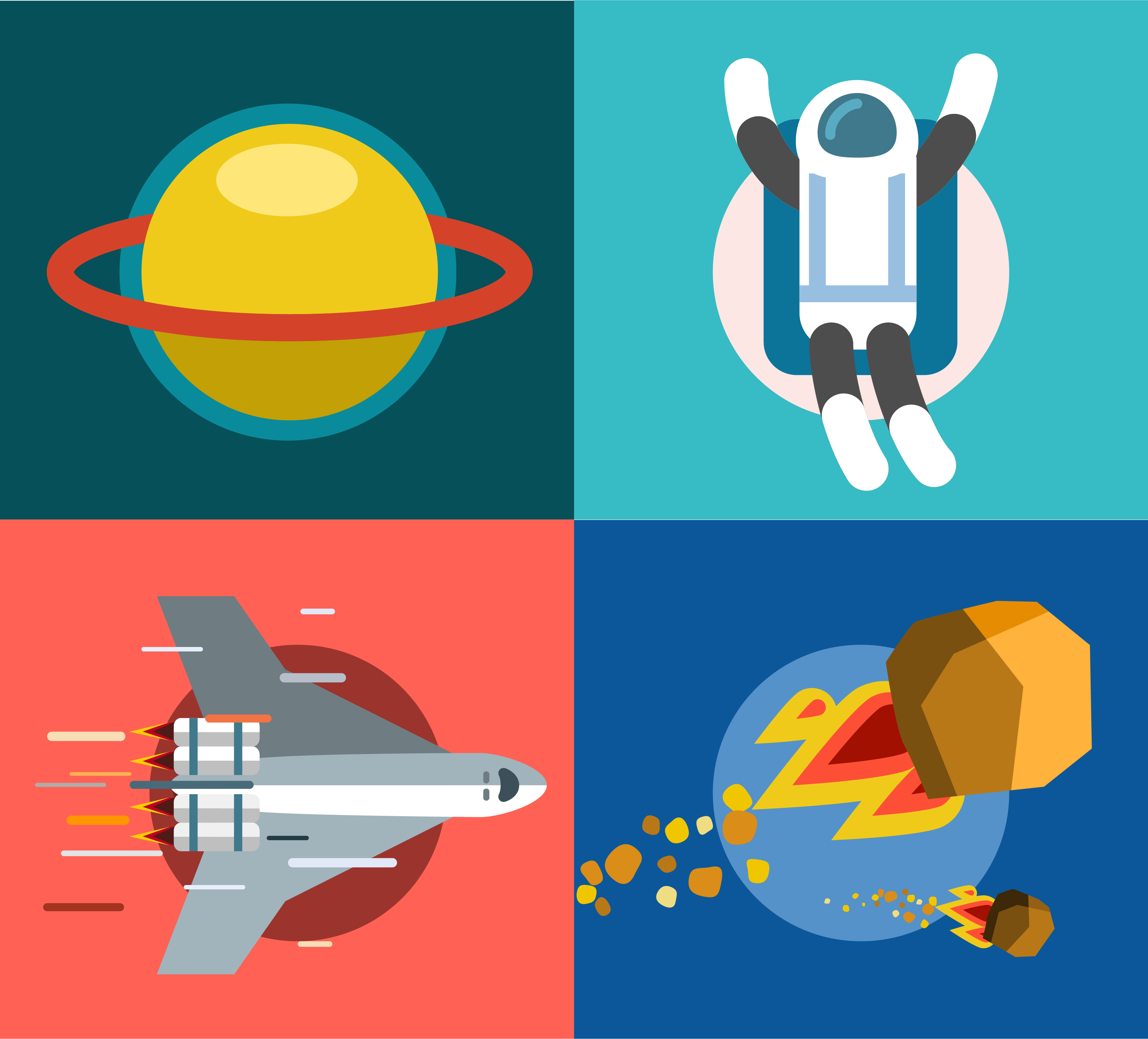 Collection of spaceships and planets, space vector illustration Photoshop brush