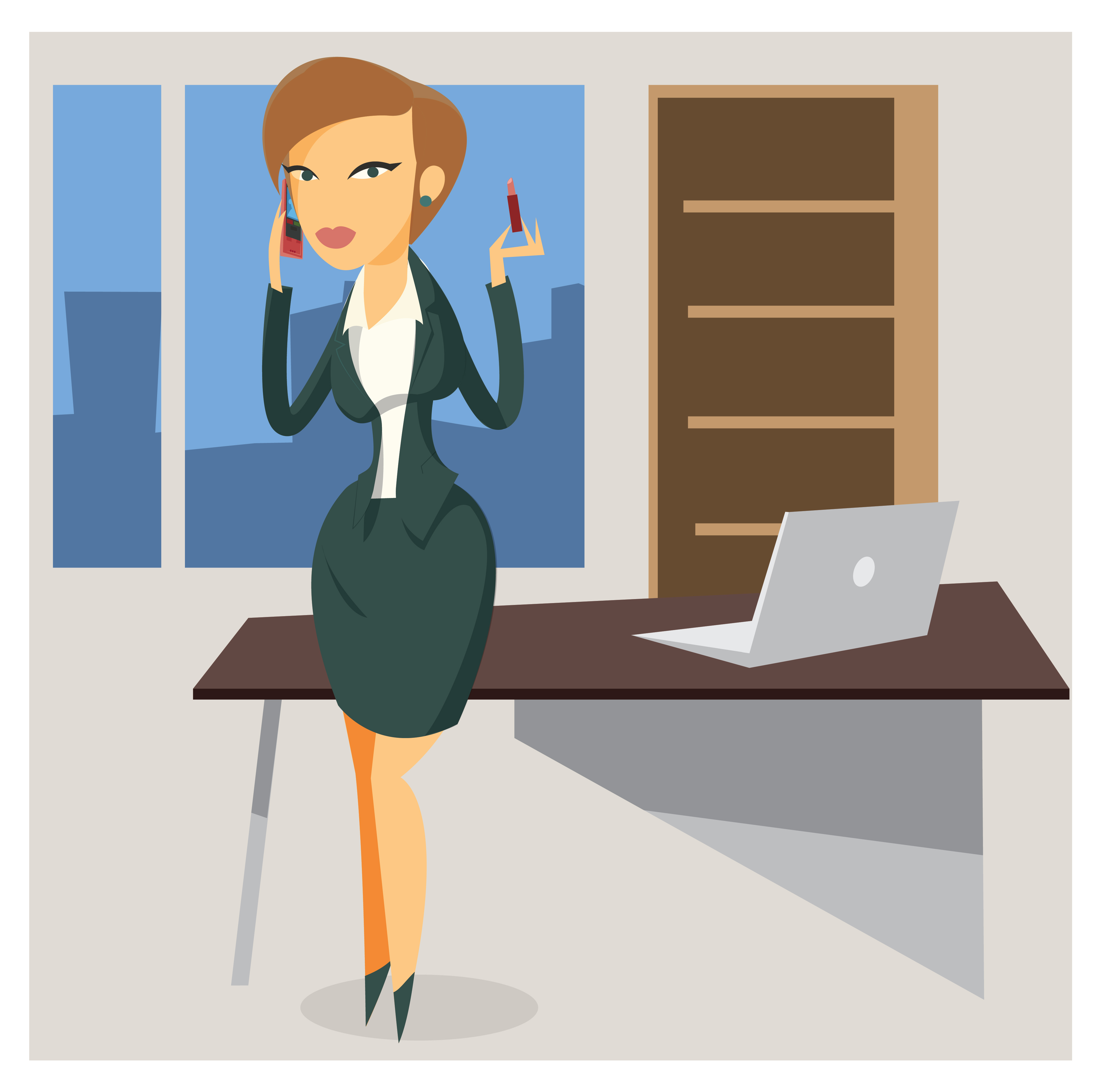 Business woman objects vector illustration for design Photoshop brush