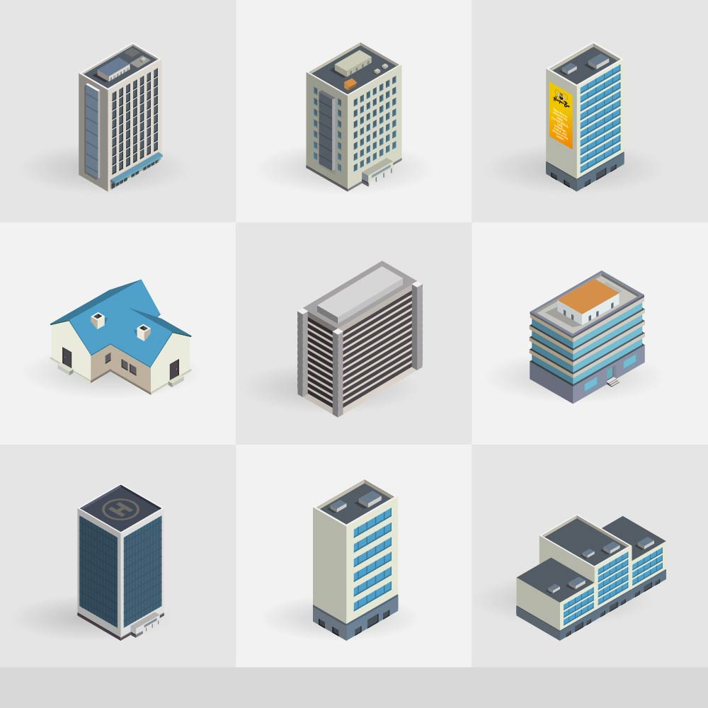 Isometric vector buildings icons Photoshop brush