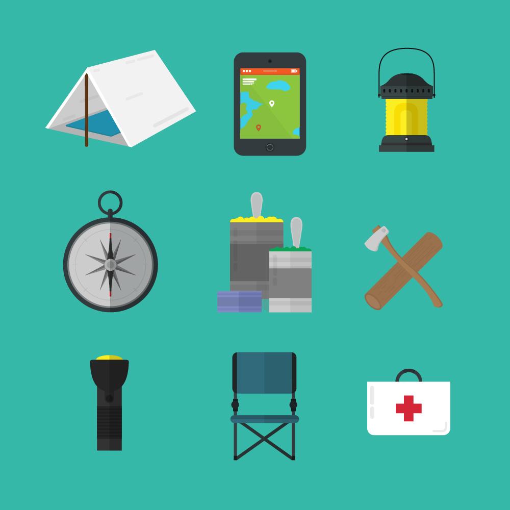 Camping tools icons Photoshop brush