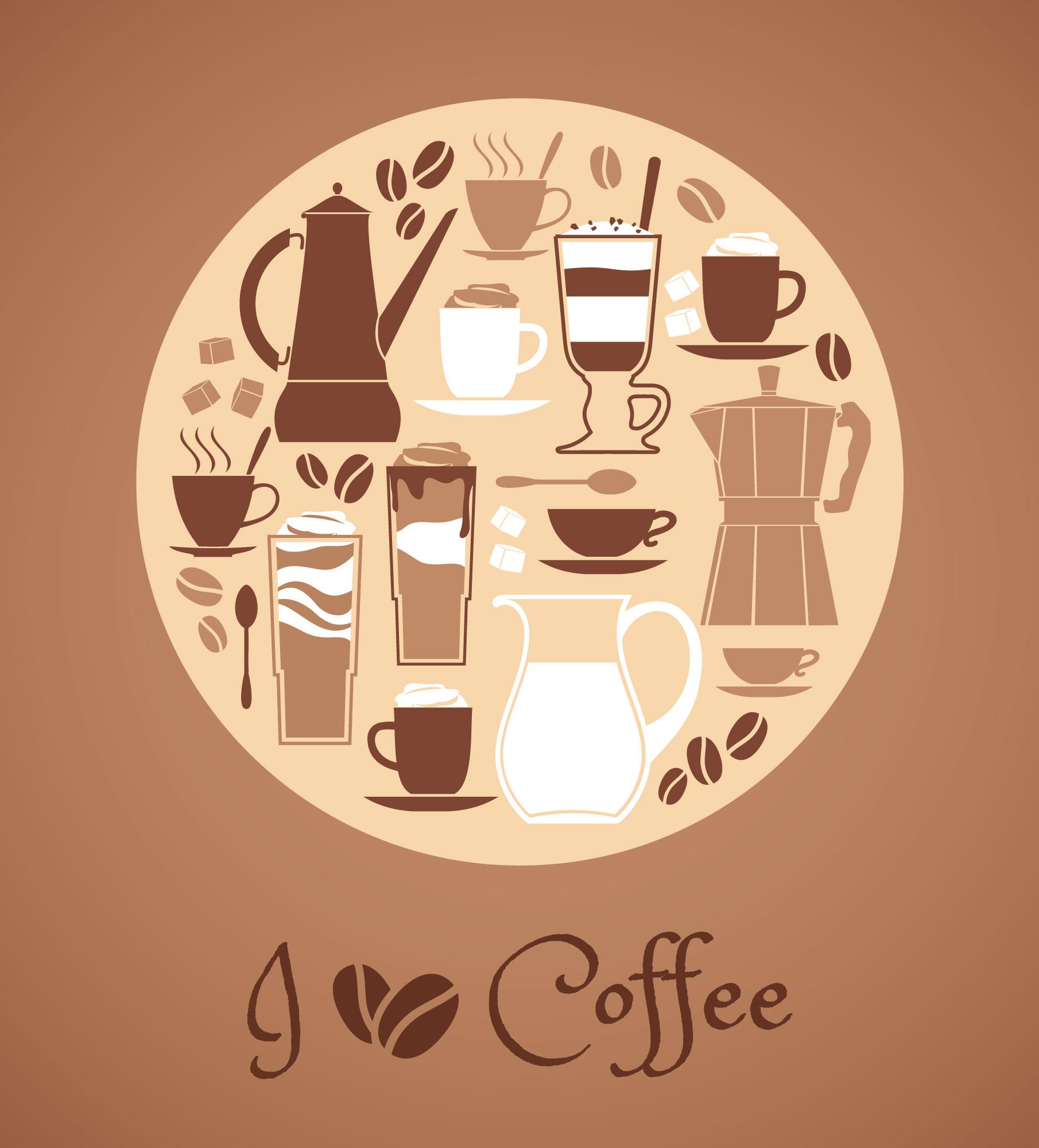 Vector illustration of coffee design elements. Photoshop brush