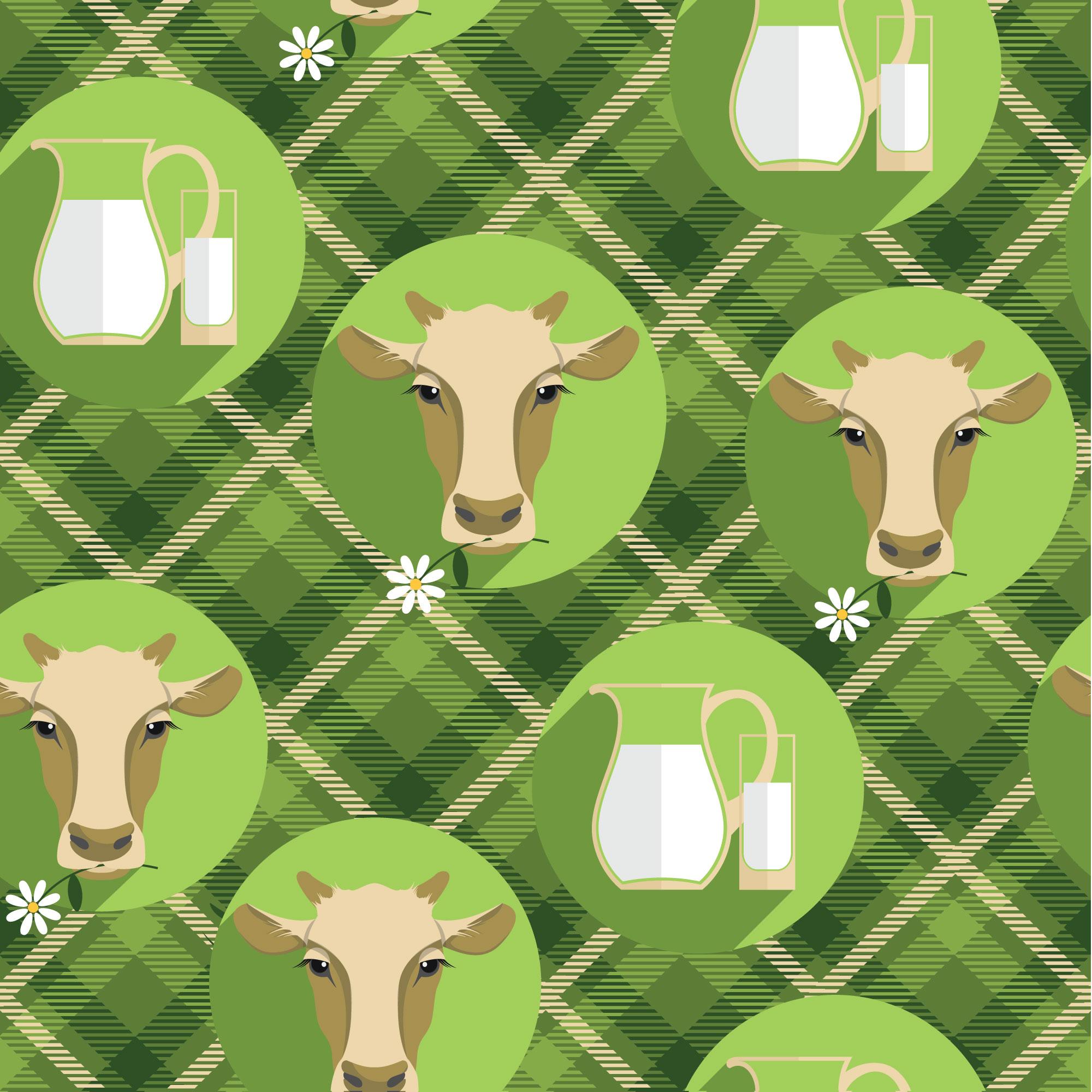 Vector  flat design illustration of cow. Seamless pattern Photoshop brush