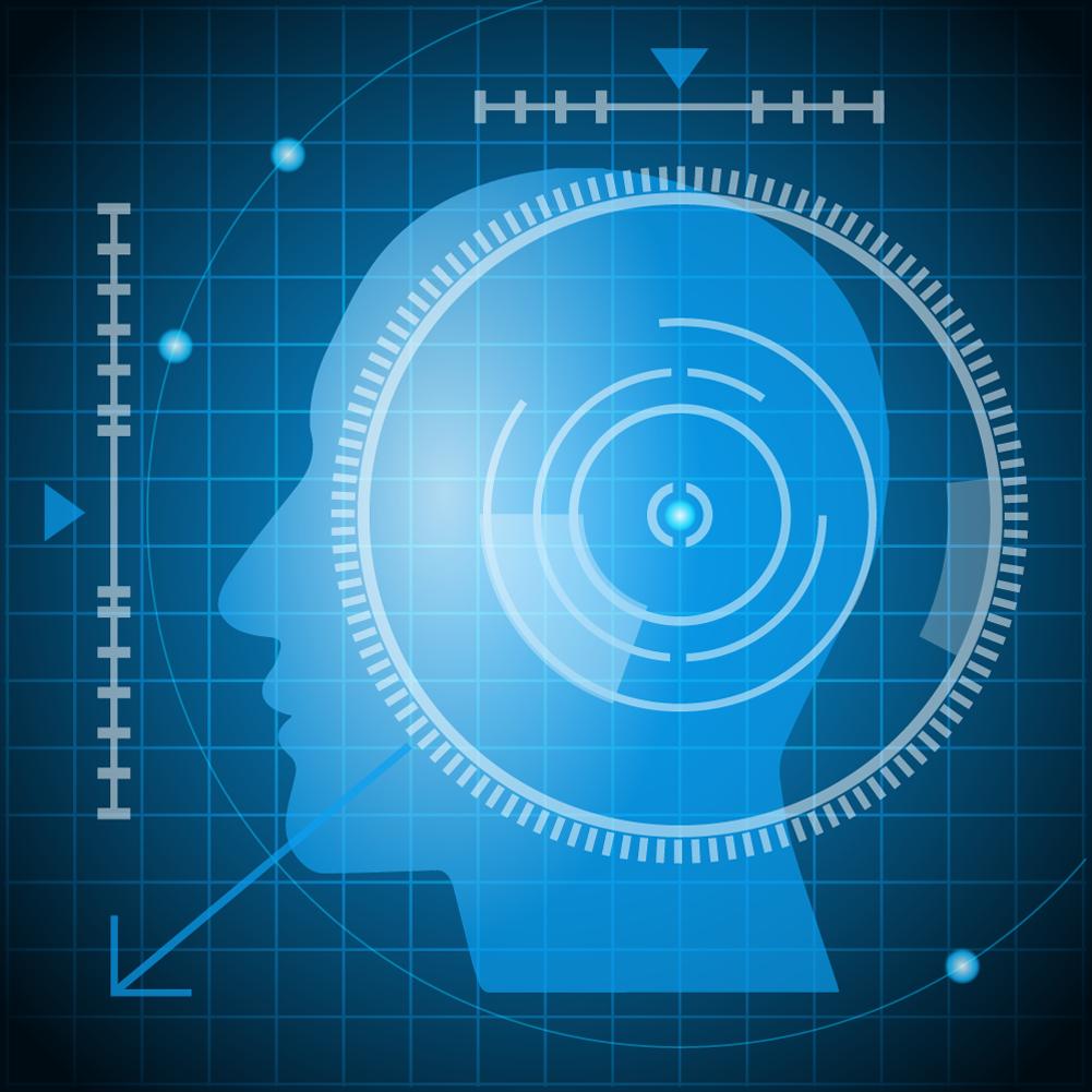 Vector illustrations futuristic head Photoshop brush