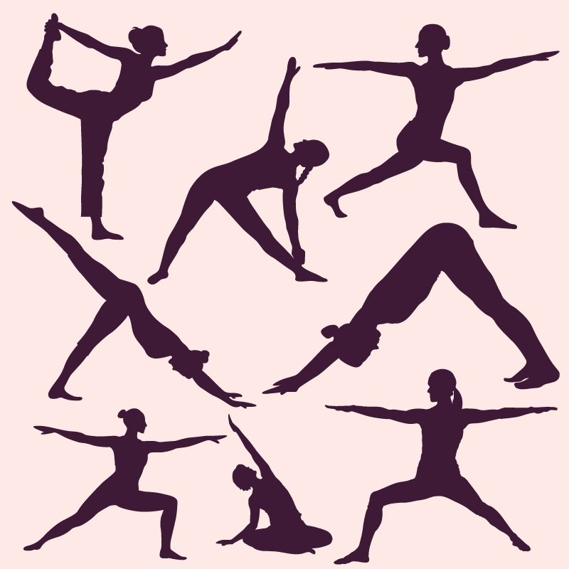 Yoga poses silhouettes Photoshop brush