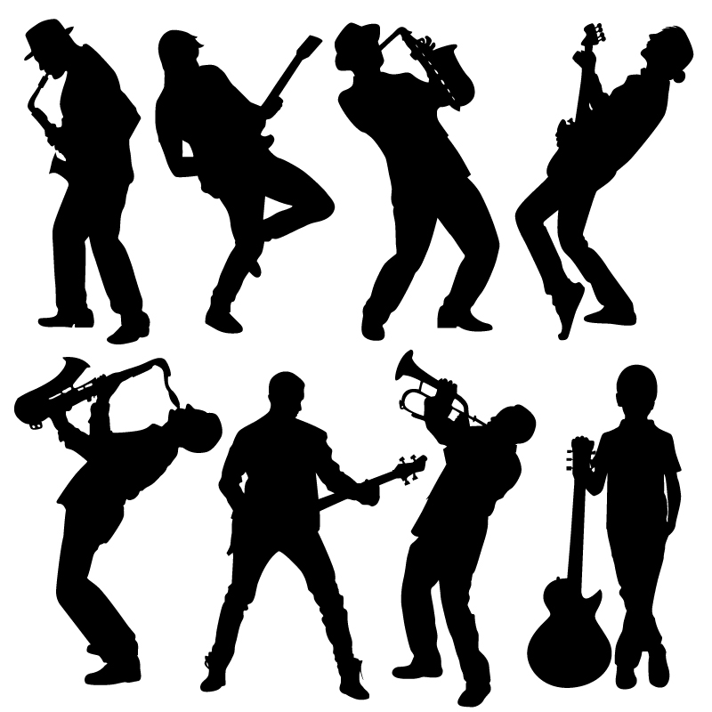 Silhouette of musician people Photoshop brush