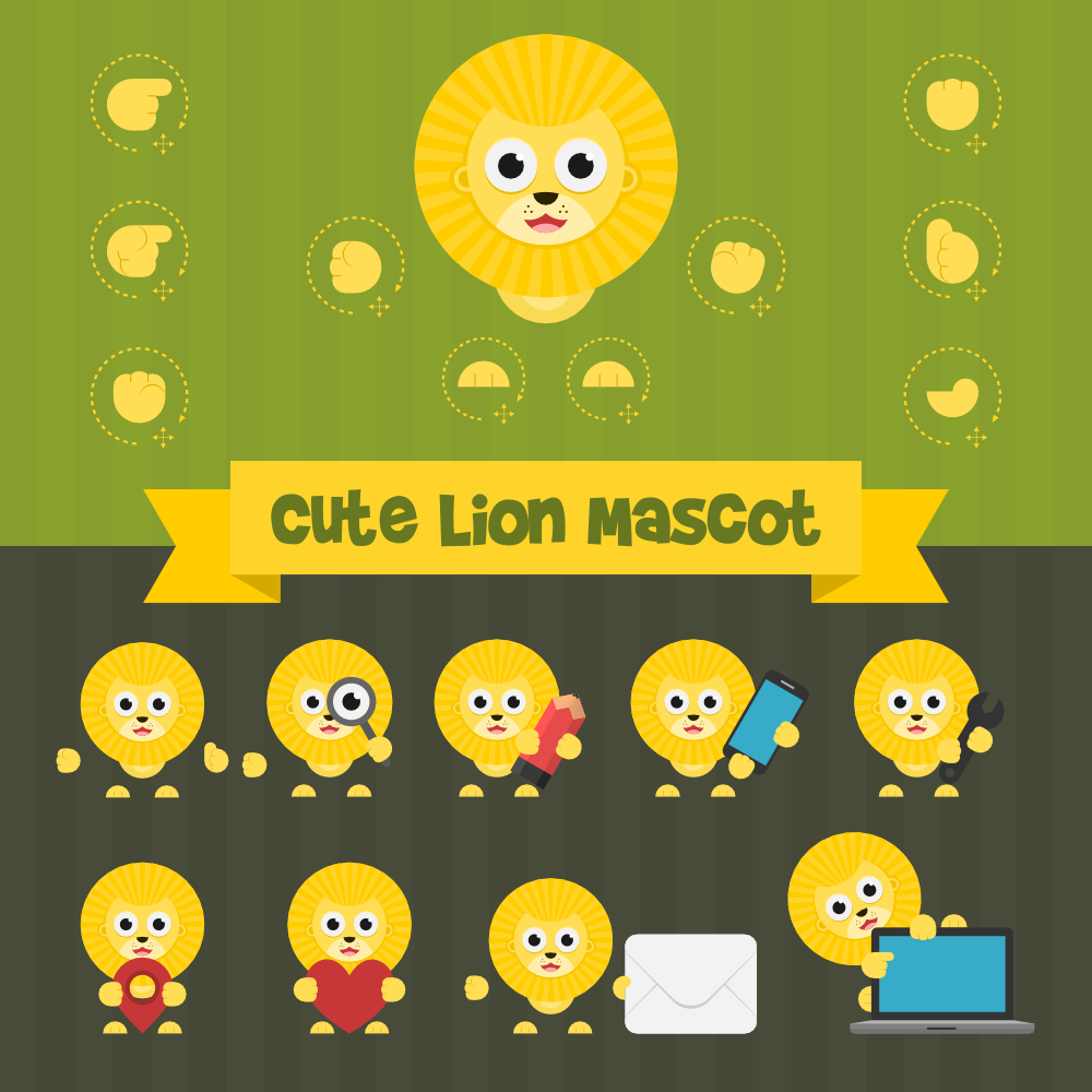 Cute Lion Mascot Kit Photoshop brush