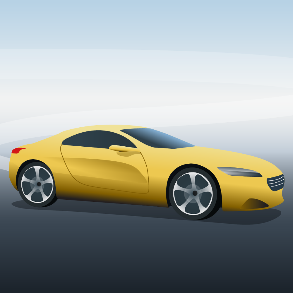 Vector illustration Yellow sports car Photoshop brush