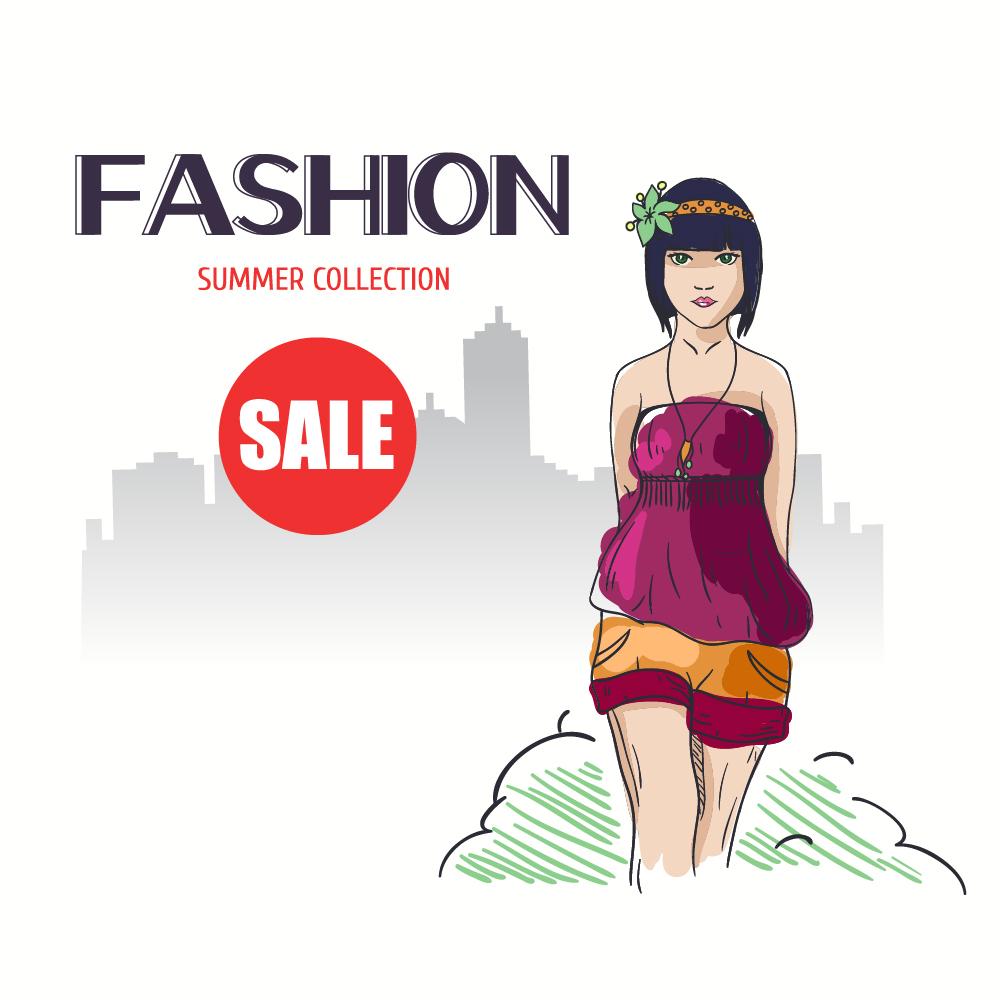 Fashion vector illustration with girl Photoshop brush