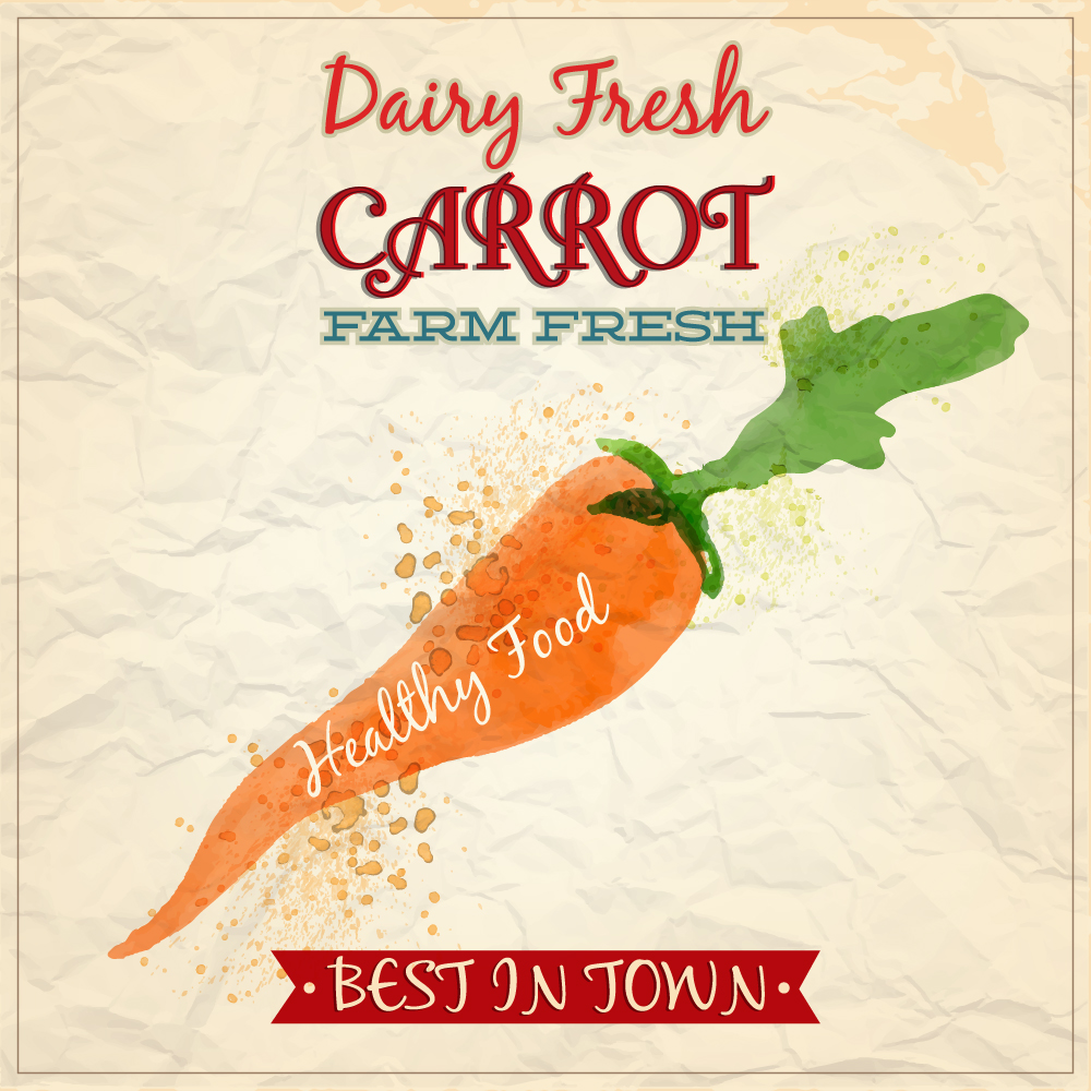 Vintage watercolor carrot with typography Photoshop brush