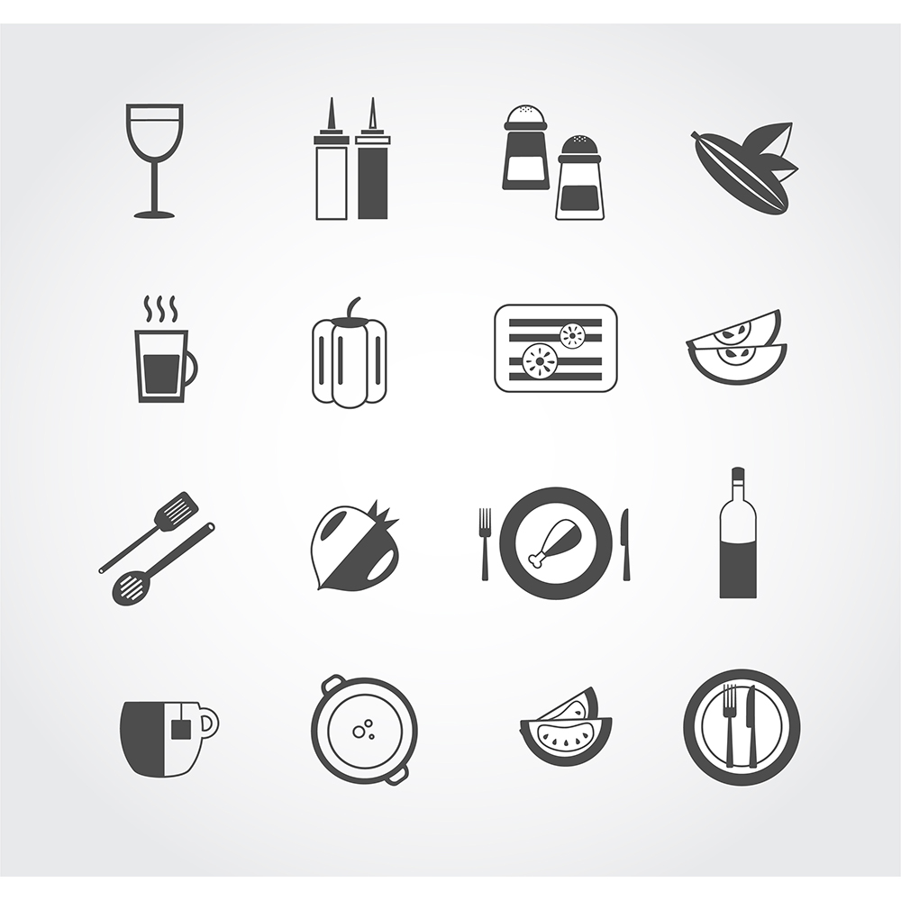 Food free vector mono color set. Icons for design Photoshop brush