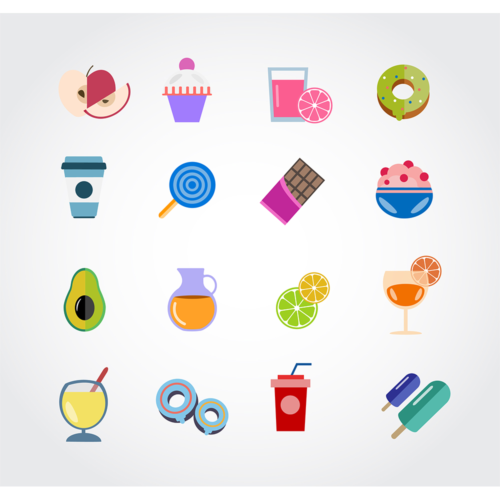 Food free vector set. Icons for design Photoshop brush