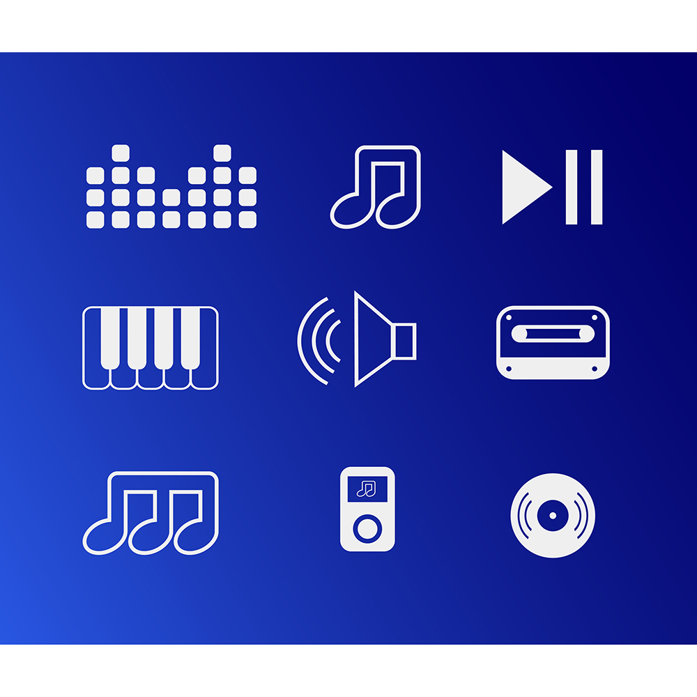 Vector free music instruments icons set for design Photoshop brush
