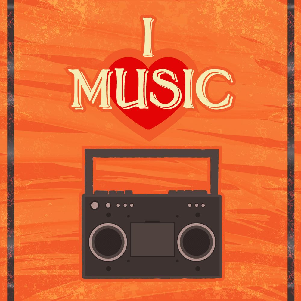 Music illustration with radion and typography Photoshop brush