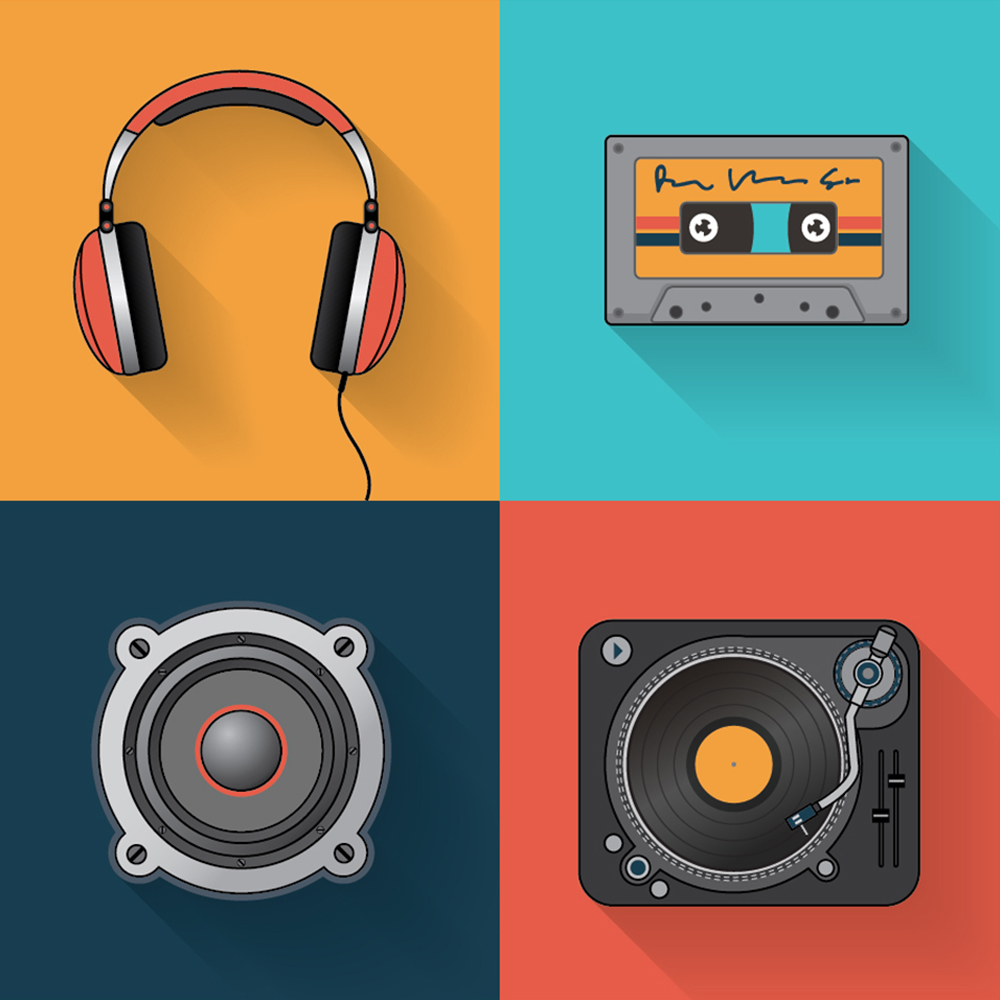 Music playback icon set Photoshop brush