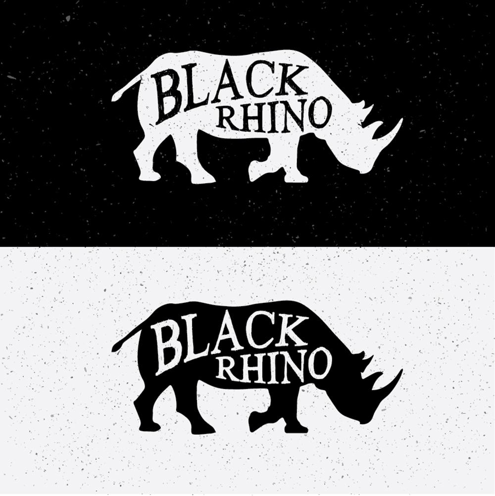 Black Rhino Hand Drawn On Black and White Photoshop brush
