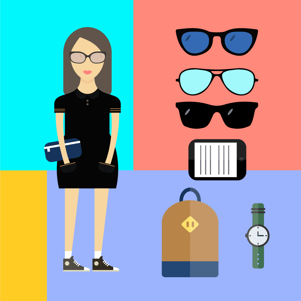 People vector woman character with tools and objects. Free illustration for design Photoshop brush