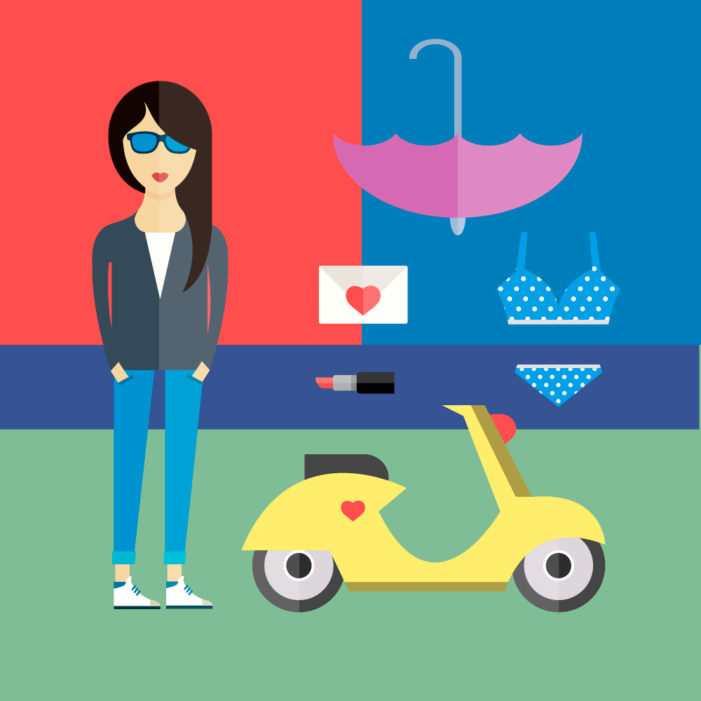 People vector girl character with tools and objects. Free illustration for design Photoshop brush