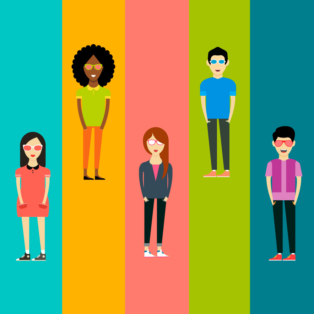 People vector characters. Free illustration for design Photoshop brush