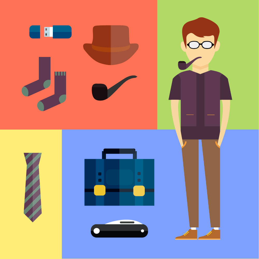 People vector hipster character with tools and objects. Free illustration for design Photoshop brush
