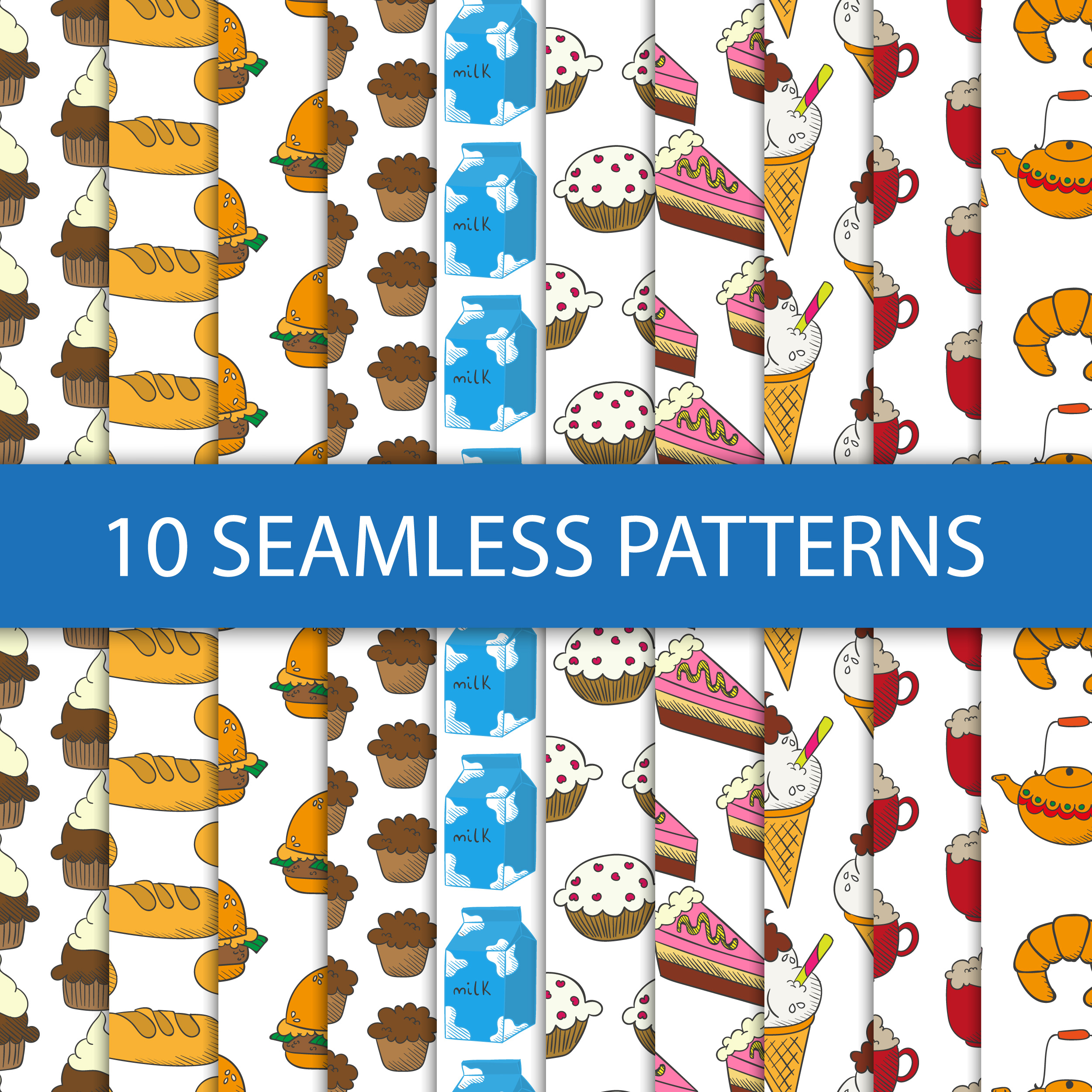 Seamless patterns with food Photoshop brush