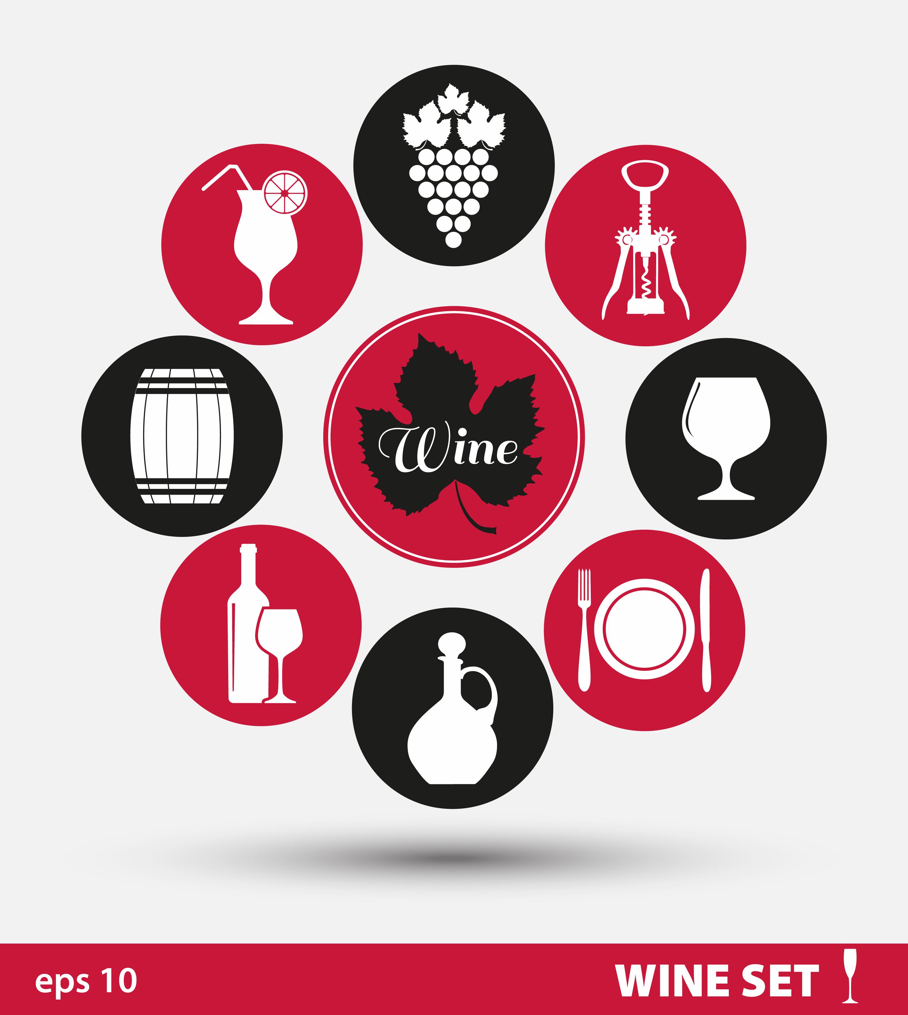 Wine set of icons Photoshop brush