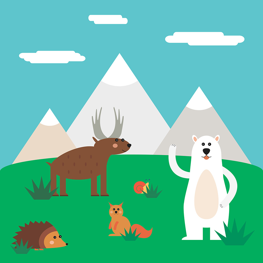 Vector illustration of cute north animal set for free vector design Photoshop brush