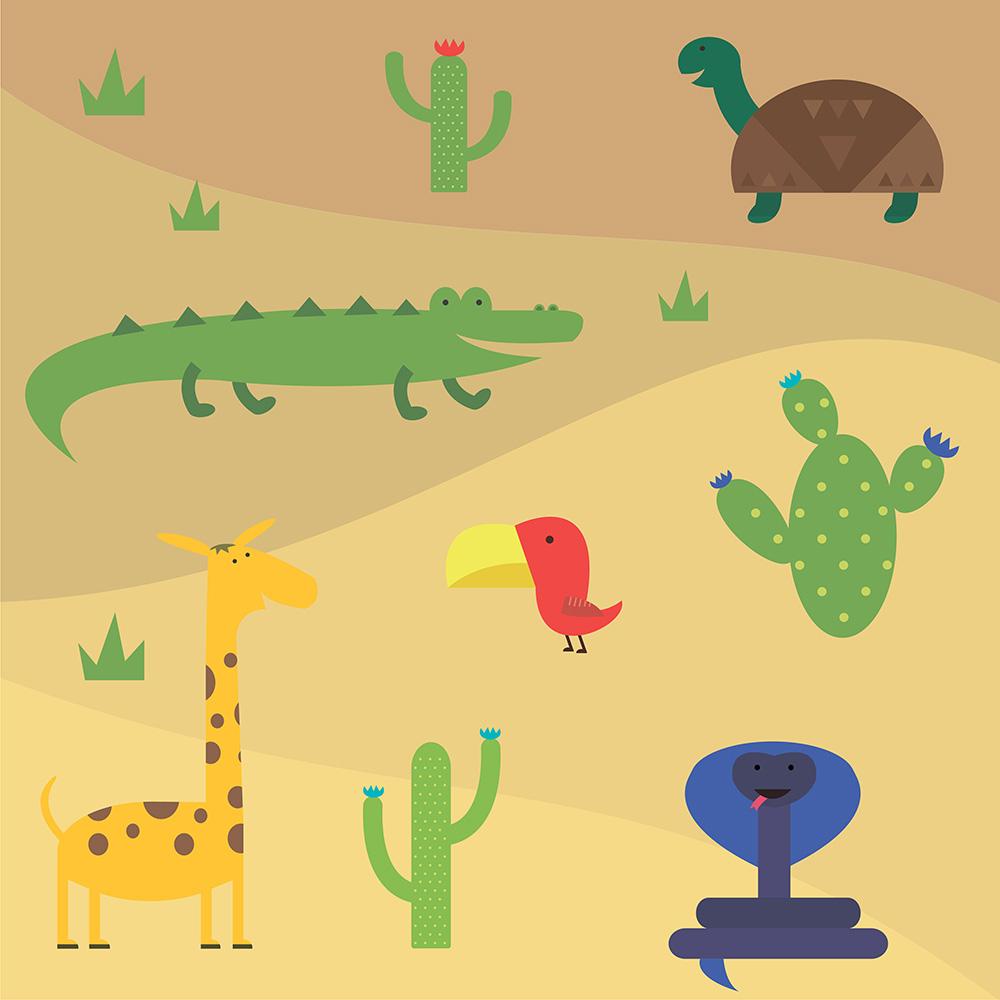 Vector illustration of cute animal set for free vector design Photoshop brush