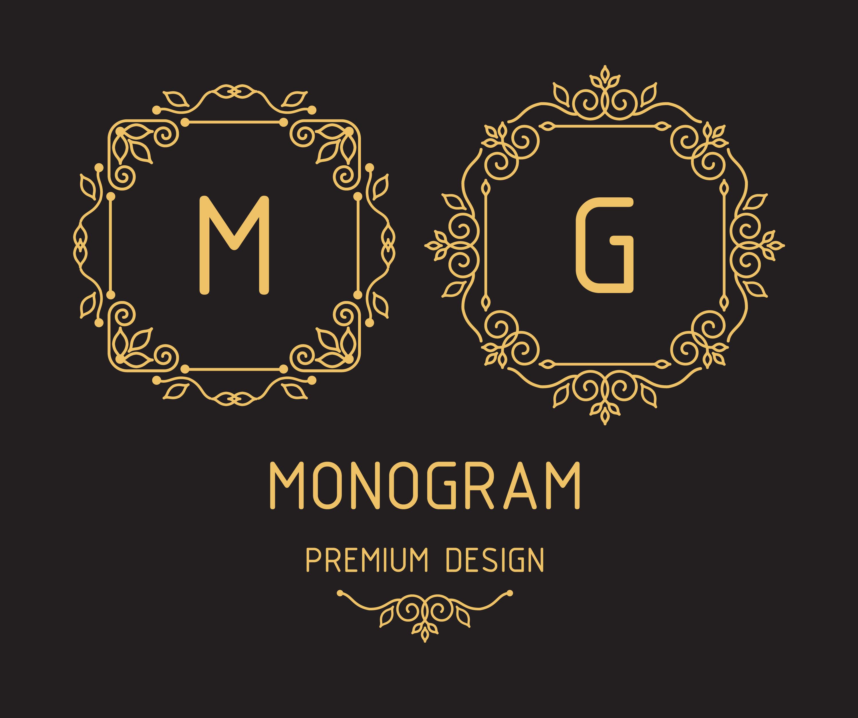 Monogram design templates Photoshop brush