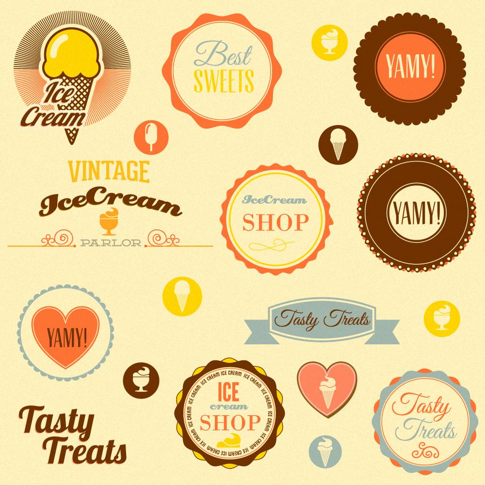 Retro badges and sweets Photoshop brush
