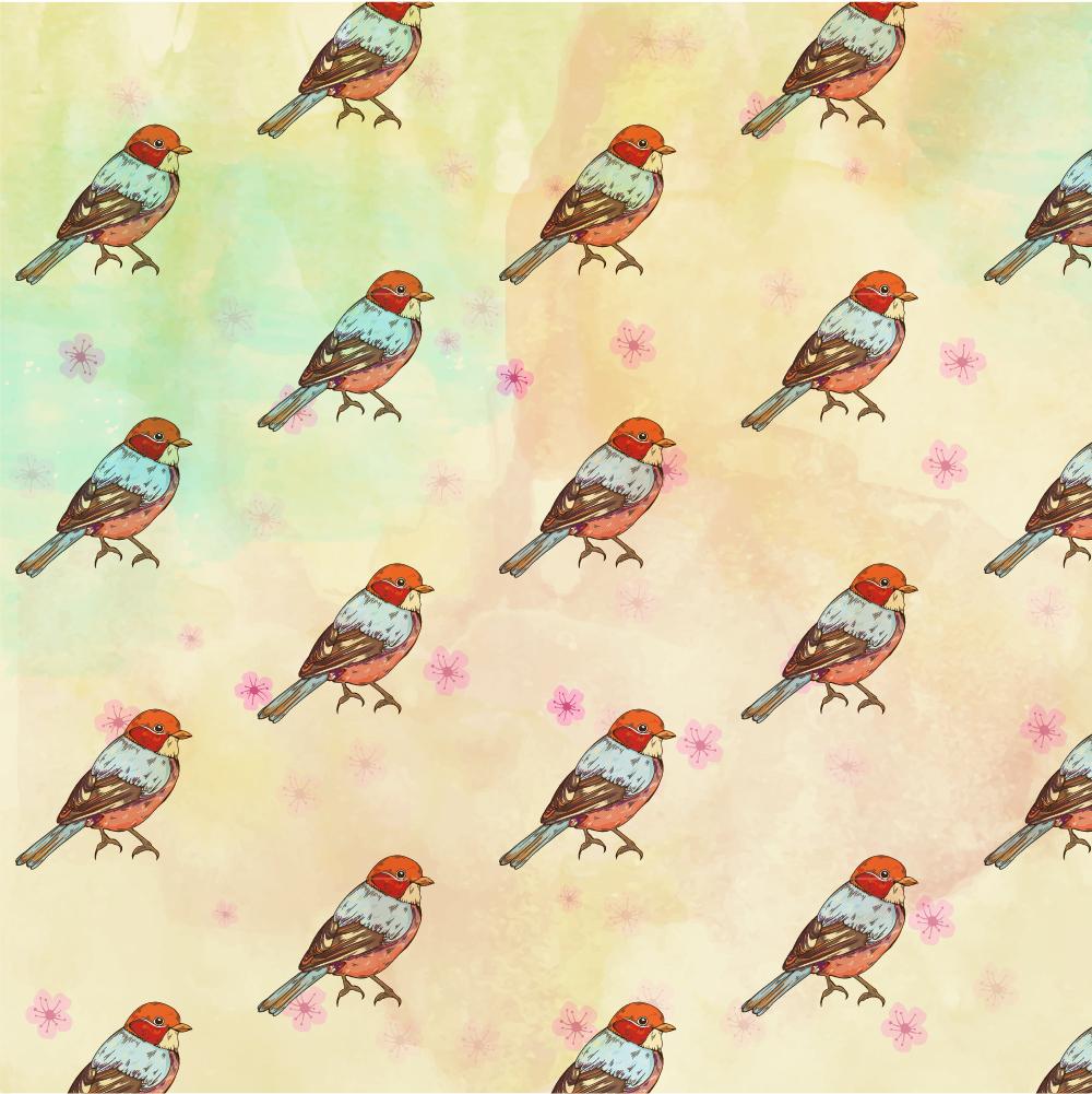 Pattern with retro bird Photoshop brush