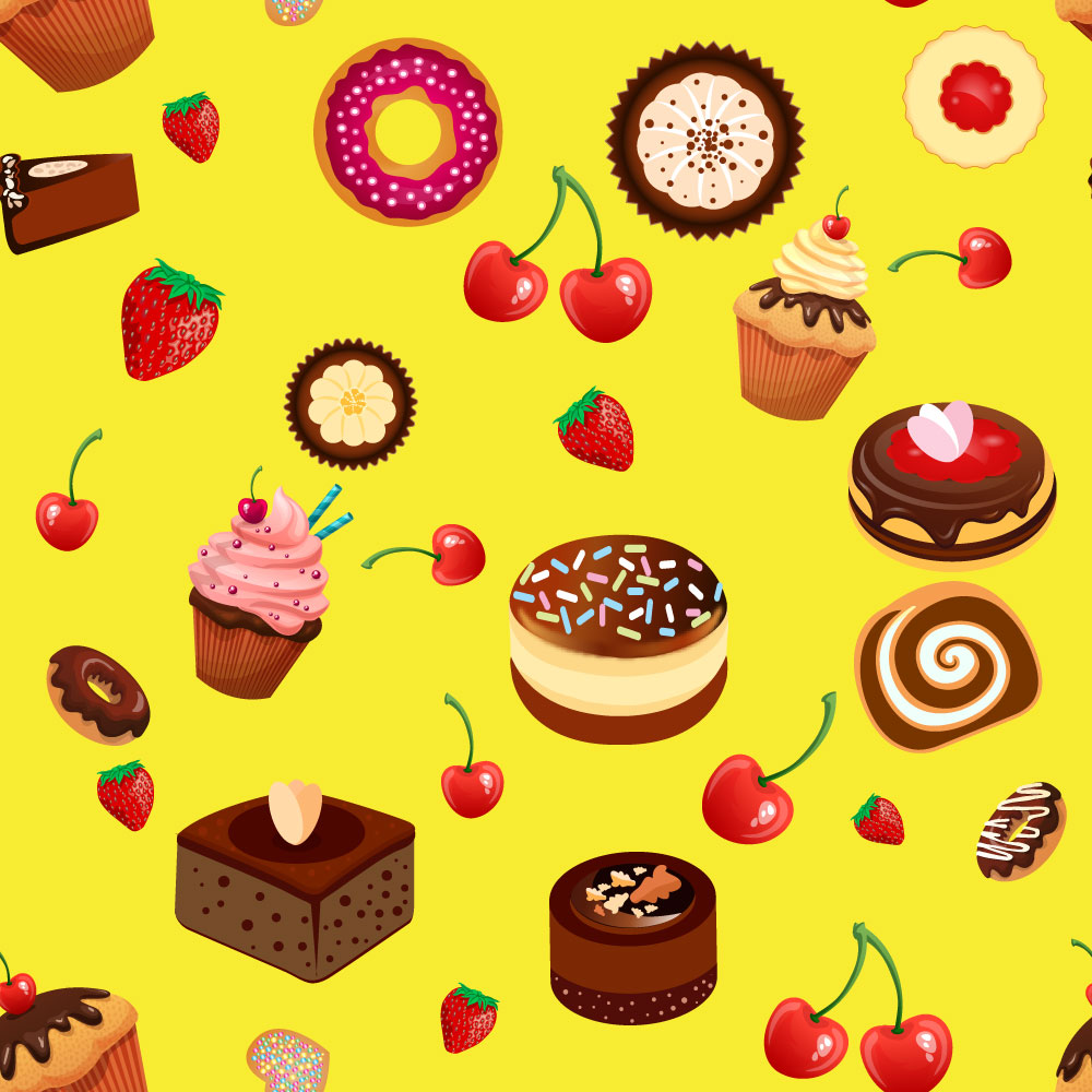 Pattern with bakery, cherry and strawberry  Photoshop brush