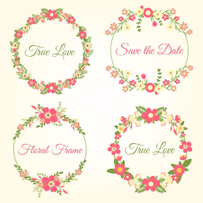 Wedding hand draw floral frames Photoshop brush