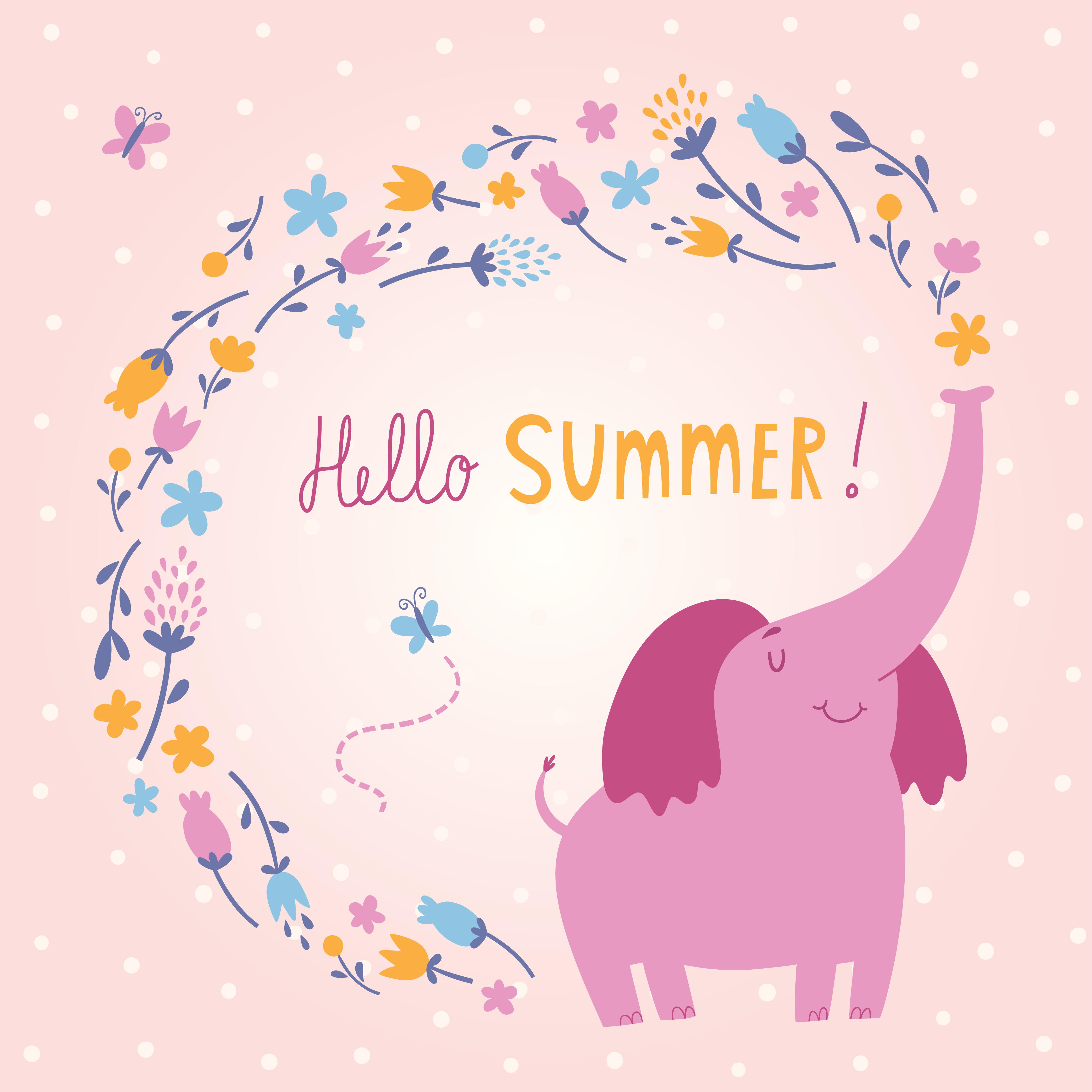 Hello Summer vector card with cute elephant Photoshop brush