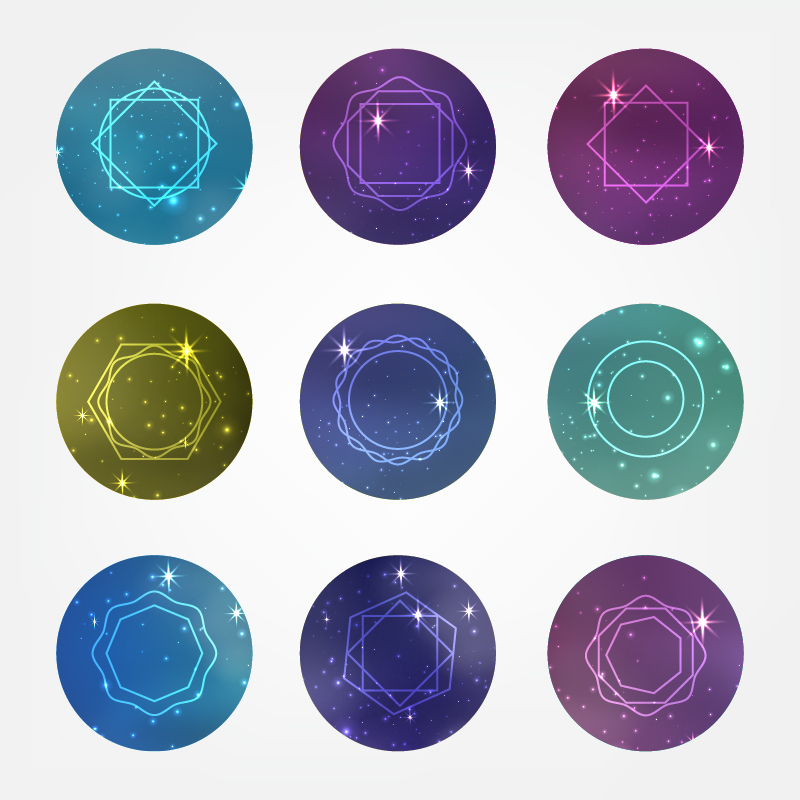 Starry circles set with Hipster Style Icons for Logo Design Photoshop brush
