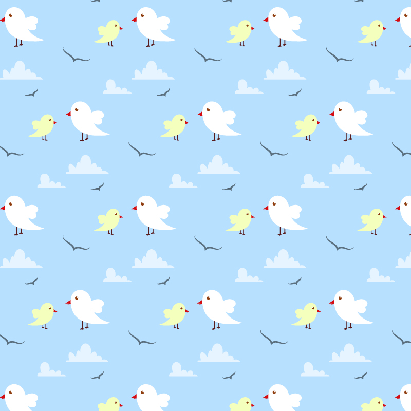 Seamless pattern with cute birds and clouds Photoshop brush