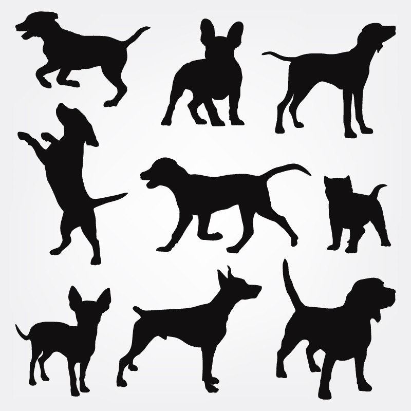 Dogs silhouettes Photoshop brush