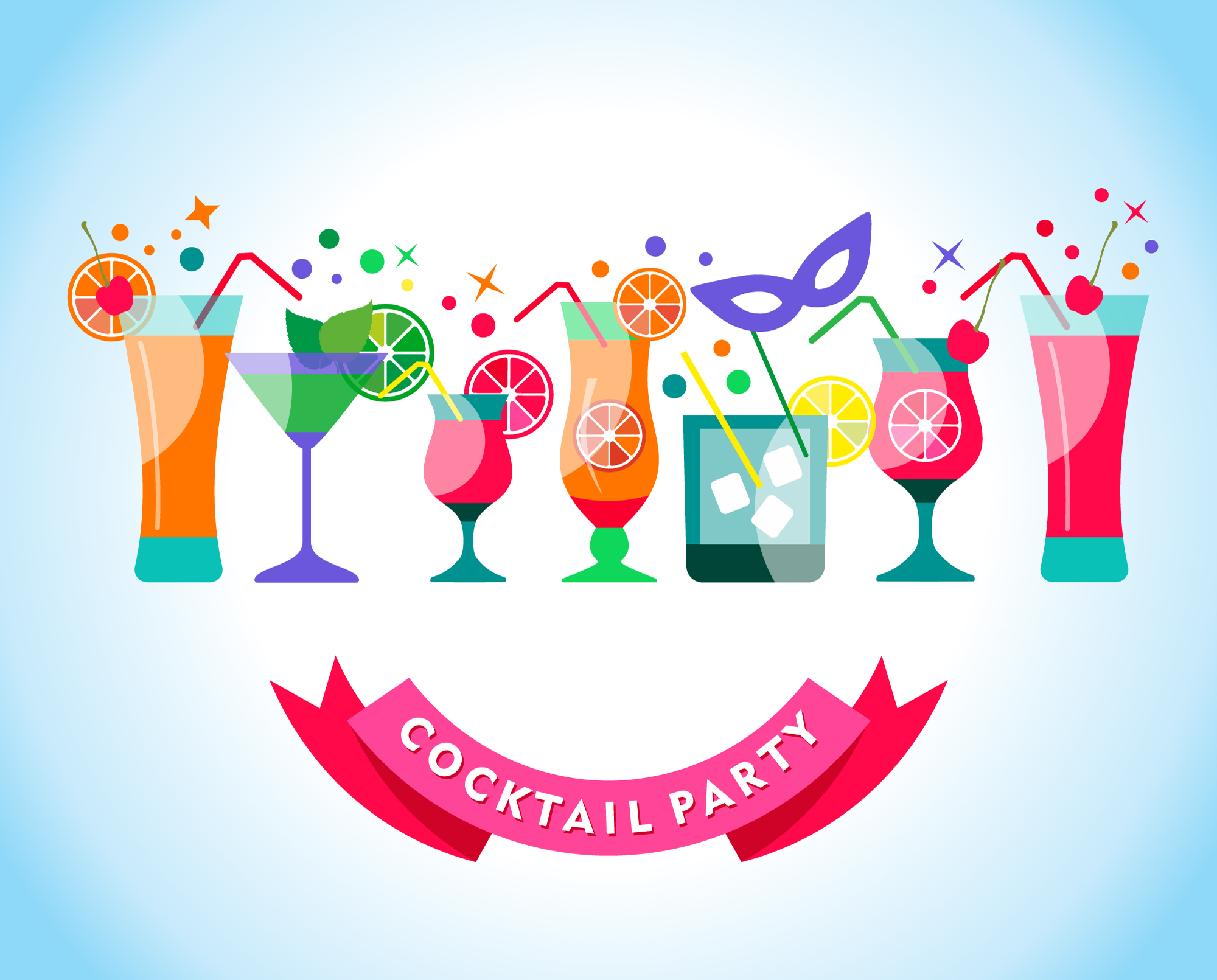 Cocktail party illustration Photoshop brush