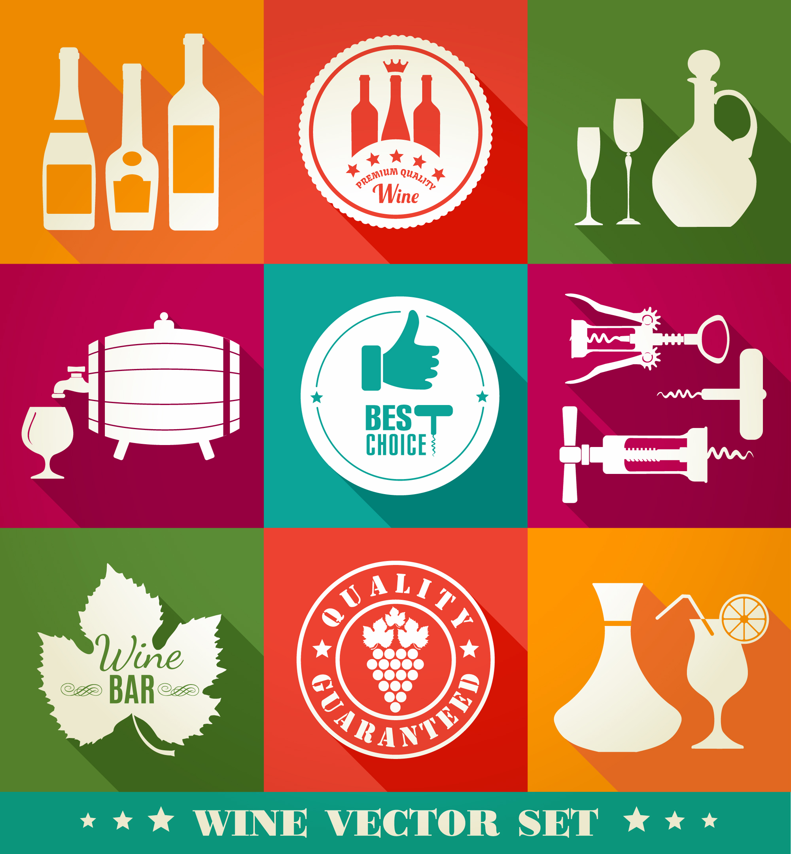 Drink illustration of vine. Color flat icons. Photoshop brush