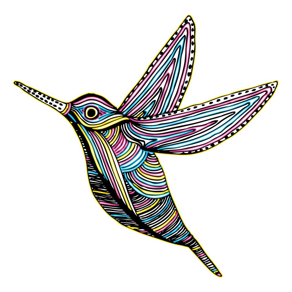 CMYK Colibri Bird Flying Photoshop brush