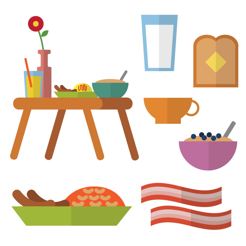 Breakfast in bed with different types of meals Photoshop brush