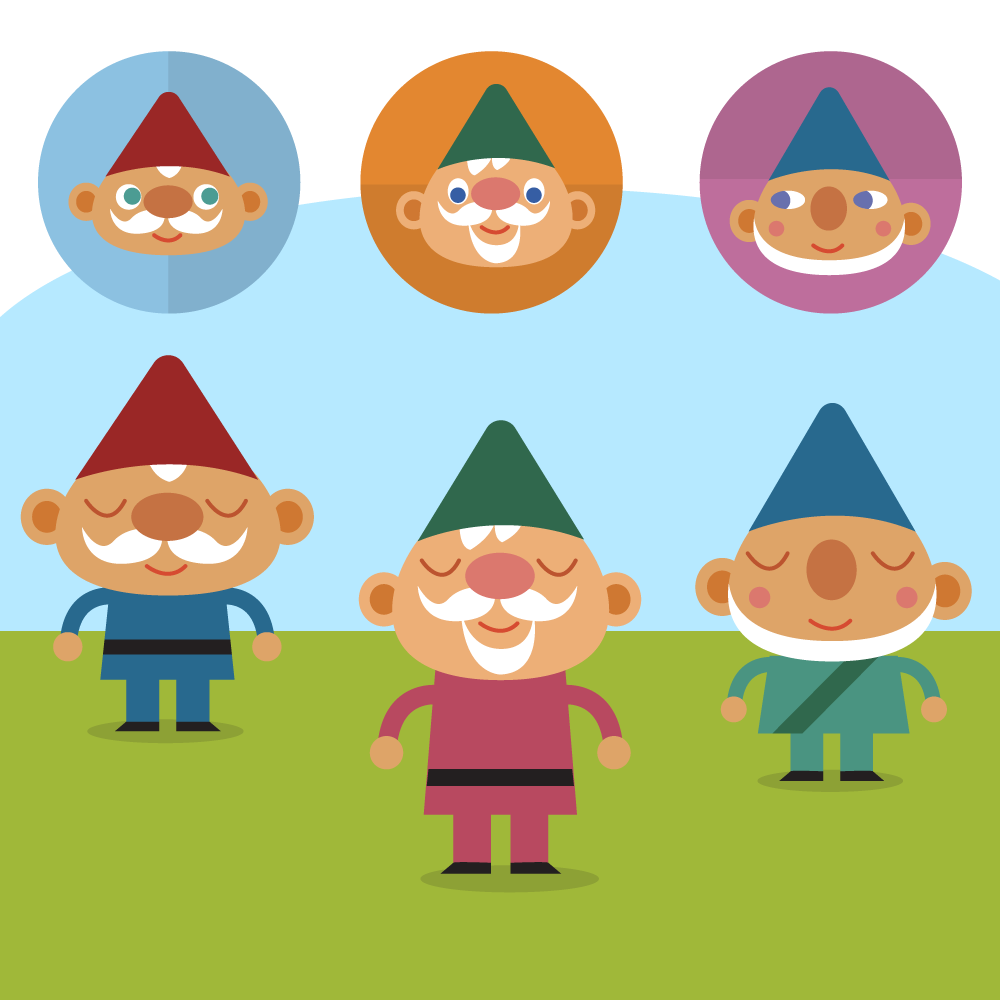 Cute Gnomes on lawn vector set Photoshop brush