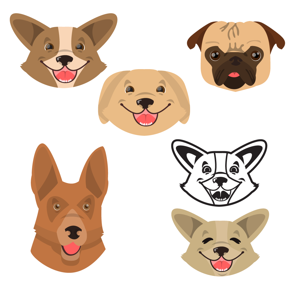Cute smiling happy dogs vector set Photoshop brush