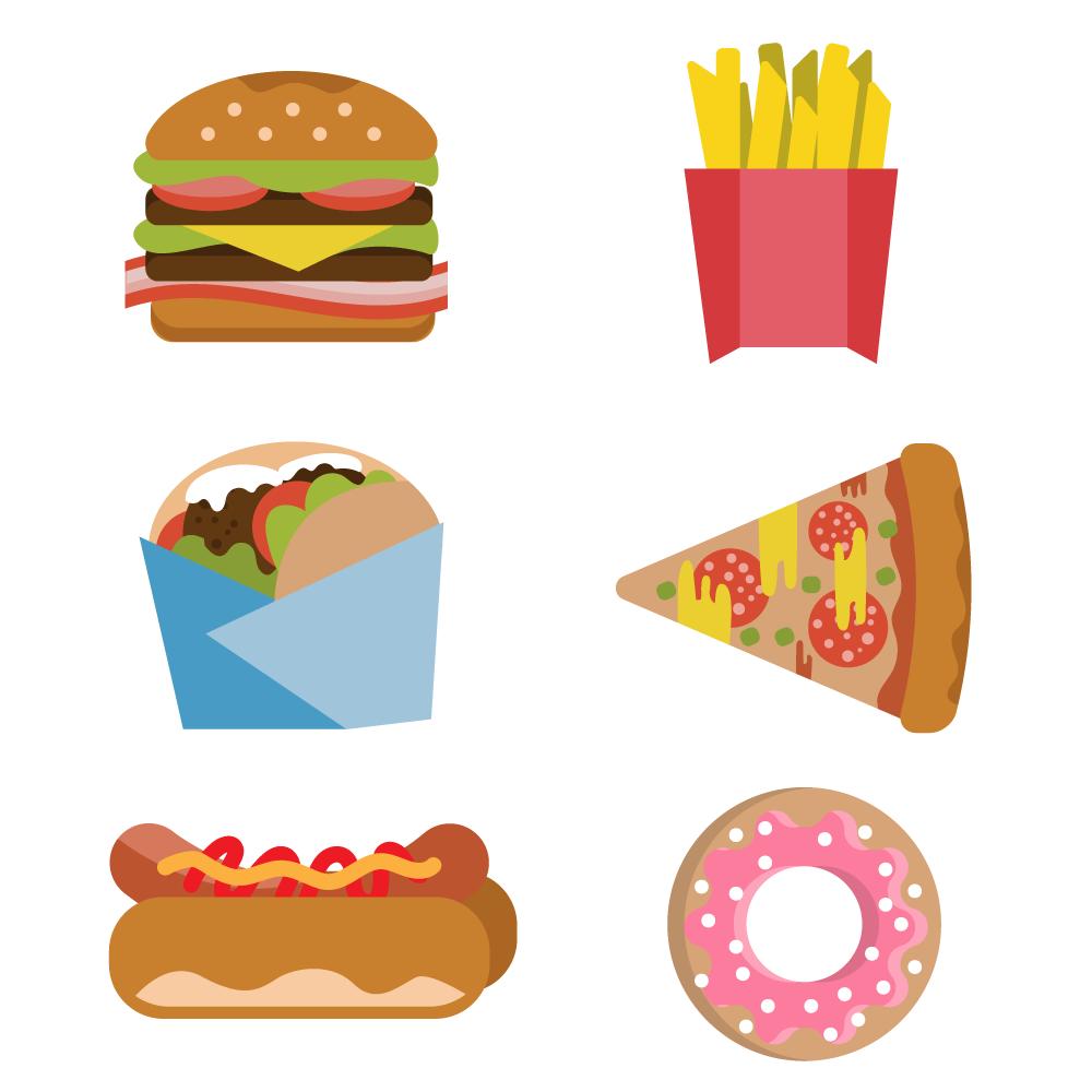 Fast food burger fries hot dog donut flat vector set Photoshop brush